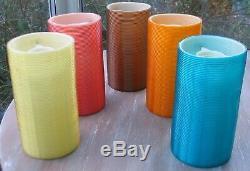 5 Coloured Cylinder Shape Rotaflex Lamp Shades Retro Vintage Lighting G B Ltd