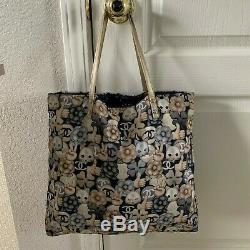 Authentic Chanel navy beige cat emoticon emoji tote bag Great condition preowned