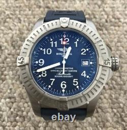 Breitling Seawolf Avenger Titanium Watch E17370 Blue Dial 3000m Superb Condition