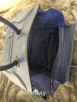 Celine Authentic Blue Mini Luggage Tote Bag in excellent condition, rarely used