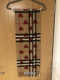 Genuine Burberry Cashmere Scarf, Red Hearts Limited Edition Great Condition