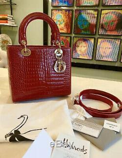 Lady Dior Classic Red Crocodile Bag Pristine Condition! Certificate & Receipt