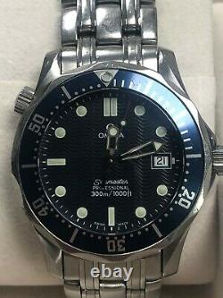 Omega Seamaster 25618000 Mid-Size Blue Watch 36.25mm Nice Condition (80586)