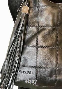VTG Chanel Black Leather Patchwork Shoulder Bag w Tassel Perfect Condition