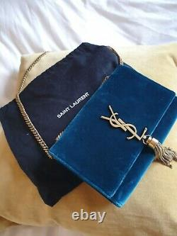 YSL Limited Edition Monogram Blue Velvet Chain Bag Great Condition