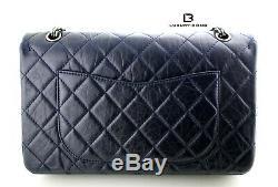 100% Auth Excellent État Chanel Redélivrance Bleu Calfskin 2,55 Sac À Rabat 227 Sz