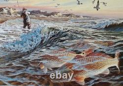 1988 Texas Saltwater Fish Imprimer Herb Booth Redfish Nouvelle Condition