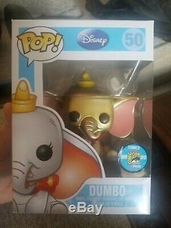 2013 Sdcc Édition Limitée 1/48 Métallisé Or Dumbo Funko Pop Excellent État