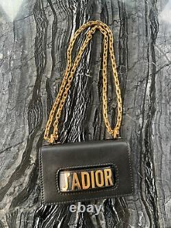 Authentique Christian Dior J'adior Mini En Cuir Noir Sac À Rabat, Superbe État