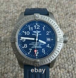 Breitling Seawolf Avenger Titanium Watch E17370 Blue Dial 3000m Superbe Condition