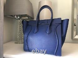 Celine Authentic Blue Mini Luggage Tote Bag En Excellent État, Rarement Utilisé
