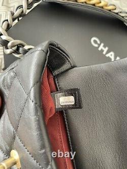 Chanel 19 Sac En Cuir D'agneau Noir Matelassé Taille / Ceinture. Rayons! Ex. État