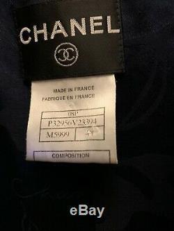 Chanel Veste En Tweed Manteau Robe Frangée Entretenu Taille 44 Mint Condition Zippered