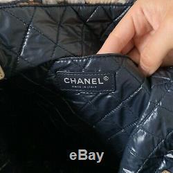 Émoticône Authentique Chanel Chat Beige Bleu Marine Sac Fourre-tout Emoji Grand État Preowned