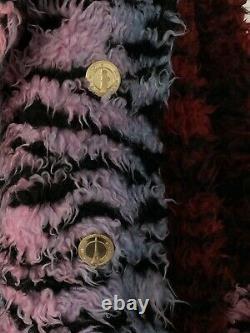 Kenzo X Hm Rouge Noir Et Rose De Zèbre Couleur Manteau En Fausse Fourrure! Condition Excellente