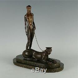 La Femme À La Panthère (bronze), Édition Limitée, Erte En Parfait État Avec Coa