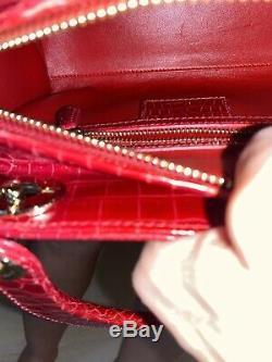 Lady Dior Classique Rouge Sac Crocodile Pristine Condition! Certificat Et Réception