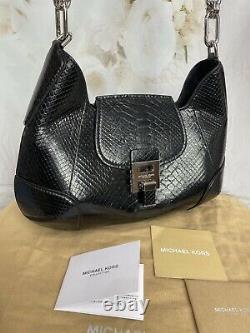 Michael Kors Collection Python Bancroft Sac À Épaule Monnaie Noire Condition 1120 $