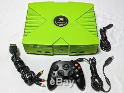 Mountain Dew Limited Edition Xbox W Controller Tous Les Câbles -excellente Condition