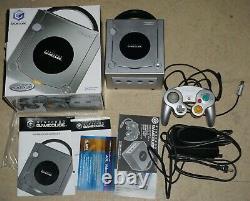 Nintendo Gamecube Platinum Silver System Console Complète Dans La Boîte B Grande Forme