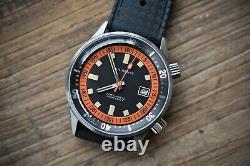 Rare Édition Limitée Dan Henry 1970 40mm Orange Dive Watch (near Mint Condition)