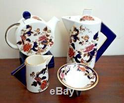 Rare! Service À Thé Mandalay Bleu The Mason Art Déco Shape Ltd Edt 450