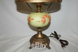 Stunning Fenton Art Glass Lampe Burmese Roses Peintes À La Main Mint Condition
