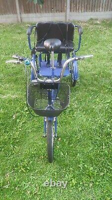 Trekidoo Tricycle Adulte + Double Child Seat Ltd Édition Bleu Excellent État